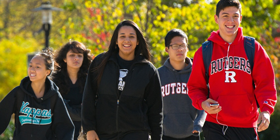 Rutgers students on campus.